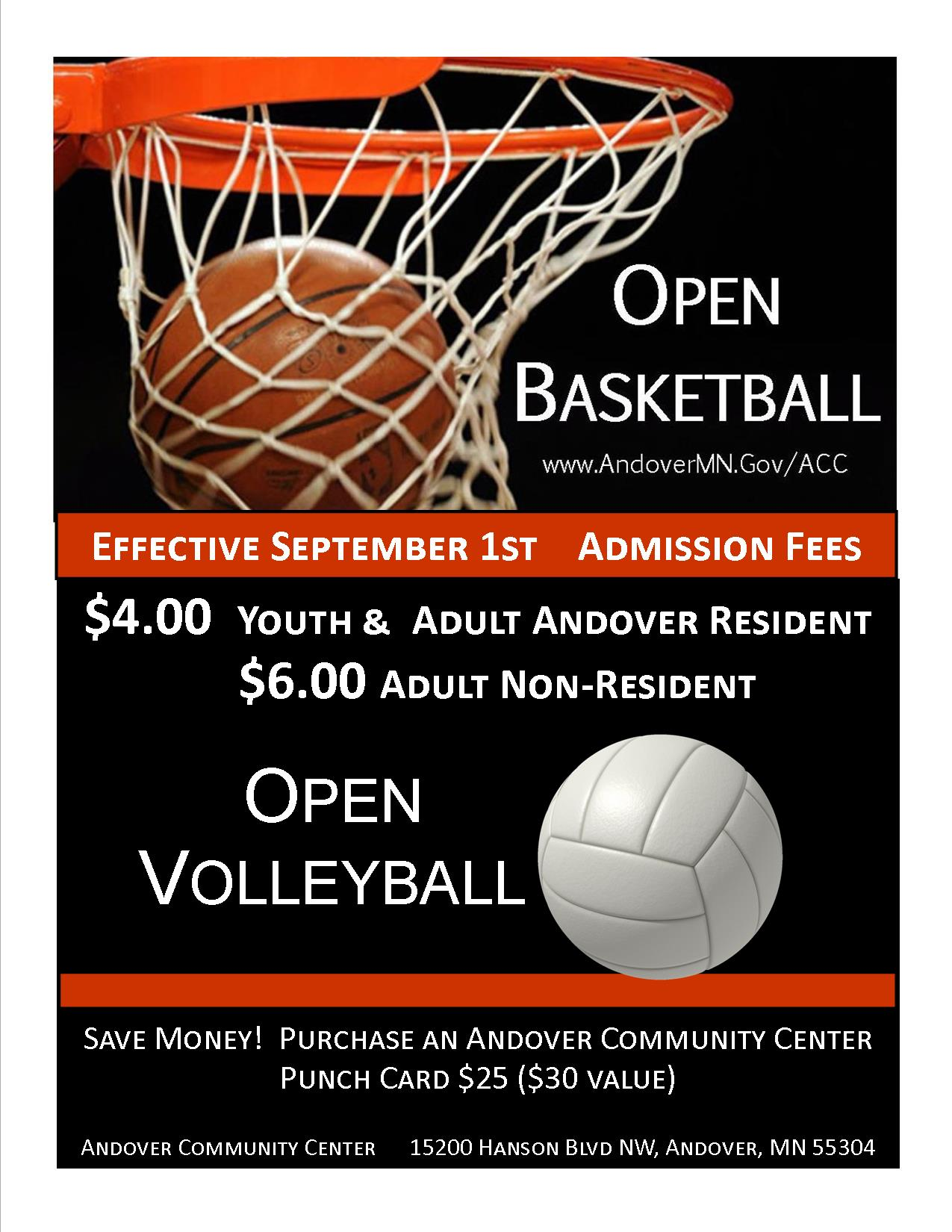 Open Basketball and  Volleyball Admission Increase 2017