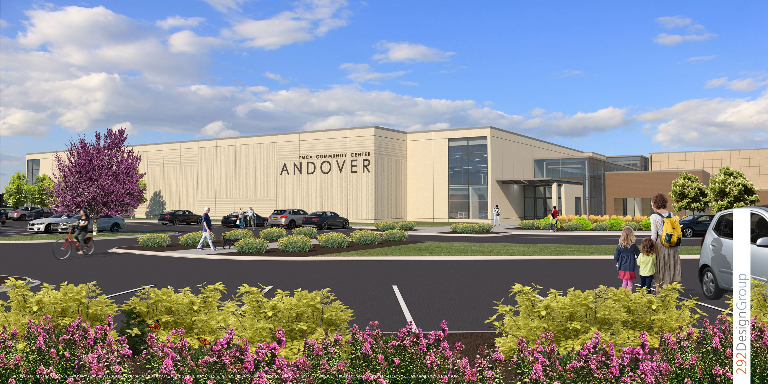 Future concept of the Andover Community Center West Entrance - drawing provided by the 292 Design Gr